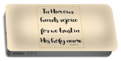 In Him Our Hearts Rejoice Bible Psalm Quote Portable Battery Charger by Georgeta Blanaru