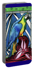 Portable Battery Charger featuring the painting In Love With A Macaw by Dora Hathazi Mendes