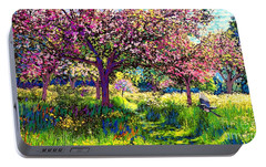 In Love With Spring, Blossom Trees Portable Battery Charger by Jane Small