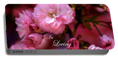 Portable Battery Charger featuring the photograph In Loving Memory Spring Pink Cherry Blossoms by Shelley Neff