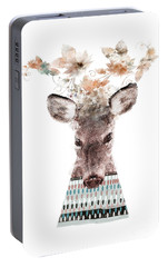 Portable Battery Charger featuring the painting In Nature Deer by Bri B