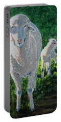 Portable Battery Charger featuring the painting In Sheep's Clothing by Karen Ilari