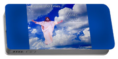 Portable Battery Charger featuring the painting In The End Times Jesus Will Come In The Clouds by Kimberlee Baxter