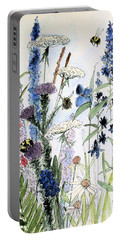 Portable Battery Charger featuring the painting In The Garden by Laurie Rohner