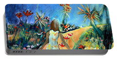 Portable Battery Charger featuring the painting In The Garden Of Joy by Winsome Gunning