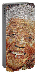 Nelson Mandela - In The Pyramid Of Our Minds Portable Battery Charger by Bankole Abe