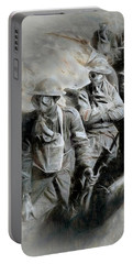 Portable Battery Charger featuring the digital art In The Trenches by Pennie  McCracken