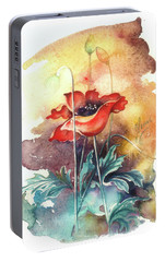Portable Battery Charger featuring the painting In The Turquoise Coat by Anna Ewa Miarczynska