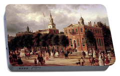 Portable Battery Charger featuring the painting Independence Hall by Ferdinand Richardt