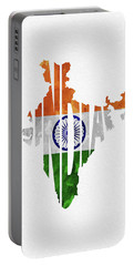 India Typographic Map Flag Portable Battery Charger