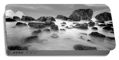 Indian Beach, Ecola State Park, Oregon, In Black And White Portable Battery Charger