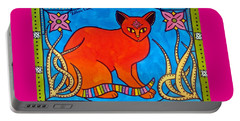 Portable Battery Charger featuring the painting Indian Cat With Lilies by Dora Hathazi Mendes