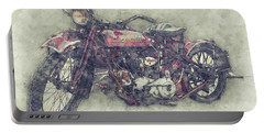 Indian Chief 1 - 1922 - Vintage Motorcycle Poster - Automotive Art Portable Battery Charger