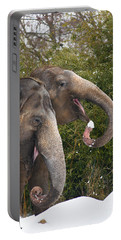 Indian Elephants Eating Snow Portable Battery Charger