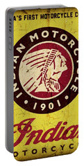 Indian Motorcycle Sign 1901 Portable Battery Charger by Daniel Hagerman