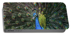 Indian Peacock With Tail Feathers Up Portable Battery Charger