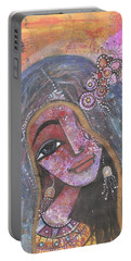 Portable Battery Charger featuring the mixed media Indian Rajasthani Woman With Colorful Background  by Prerna Poojara