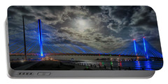 Indian River Bridge Moonlight Panorama Portable Battery Charger