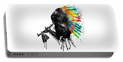 Indian Silhouette With Colorful Headdress Portable Battery Charger