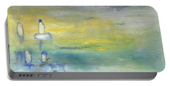Portable Battery Charger featuring the painting Indian Summer Over The Pond by Michal Mitak Mahgerefteh