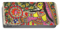 Indian Village Lady Painting, Trible Painting Madhubani Artwork Indian Miniature Watercolor Artwork. Portable Battery Charger