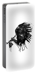 Portable Battery Charger featuring the mixed media Indian With Headdress Black And White Silhouette by Marian Voicu