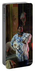 Portable Battery Charger featuring the photograph Indian Woman And Her Dogs by Mike Reid