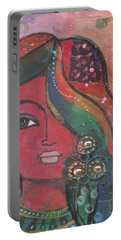 Indian Woman With Flowers  Portable Battery Charger