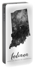 Indiana State Map Art - Grunge Silhouette Portable Battery Charger