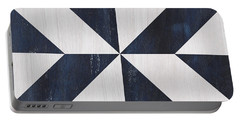 Portable Battery Charger featuring the painting Indigo And Blue Quilt by Debbie DeWitt