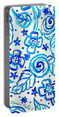 Portable Battery Charger featuring the painting Indigo Blooms by Monique Faella