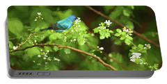 Indigo Bunting And Black Berry Blooms Portable Battery Charger by Darren Fisher
