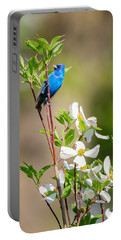 Indigo Bunting In Flowering Dogwood Portable Battery Charger