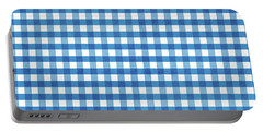 Indigo Gingham- Design By Linda Woods Portable Battery Charger