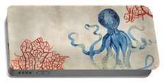Indigo Ocean - Octopus Floating Amid Red Fan Coral Portable Battery Charger