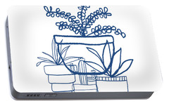 Portable Battery Charger featuring the mixed media Indigo Potted Succulents- Art By Linda Woods by Linda Woods