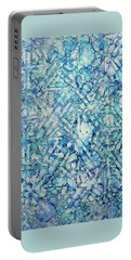 Portable Battery Charger featuring the painting Indigo Trails Ink #14 by Sarajane Helm