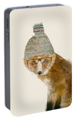 Portable Battery Charger featuring the painting Indy Fox by Bri B