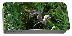 Injure Blue Heron Portable Battery Charger by Donna Brown