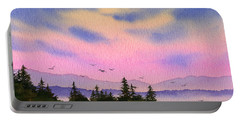 Portable Battery Charger featuring the painting Inland Sea Sunset by James Williamson