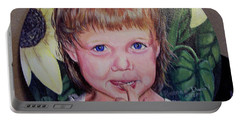 Innocence Under A Sunflower Portable Battery Charger by Ruanna Sion Shadd a'Dann'l