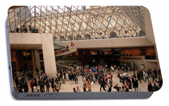 Portable Battery Charger featuring the photograph Inside Louvre Museum Pyramid by Mark Czerniec