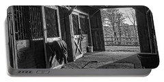 Portable Battery Charger featuring the photograph Inside The Horse Barn Black And White by Edward Fielding