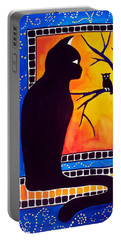 Portable Battery Charger featuring the painting Insomnia - Cat And Owl Art By Dora Hathazi Mendes by Dora Hathazi Mendes