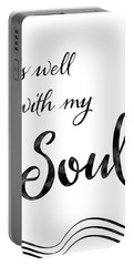 Inspirational Typography Script Calligraphy - It Is Well With My Soul Portable Battery Charger