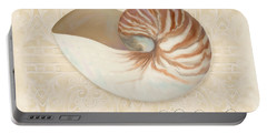 Inspired Coast Iv - Chambered Nautilus, Nautilus Pompilius Portable Battery Charger by Audrey Jeanne Roberts