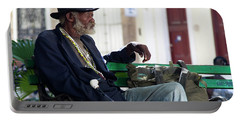 Portable Battery Charger featuring the photograph Interesting Cuban Gentleman In A Park On Obrapia by Charles Harden