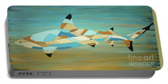 Into The Blue I Shark Painting Portable Battery Charger