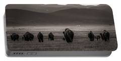 Into The Sunset - Bw Portable Battery Charger by Chris Bordeleau