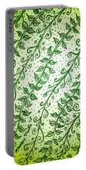 Portable Battery Charger featuring the drawing Into The Thick Of It, Green by Monique Faella